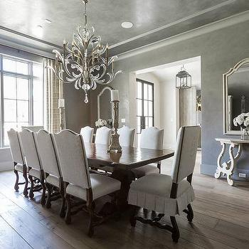 Gray French Dining Room With White Camelback Dining Chairs