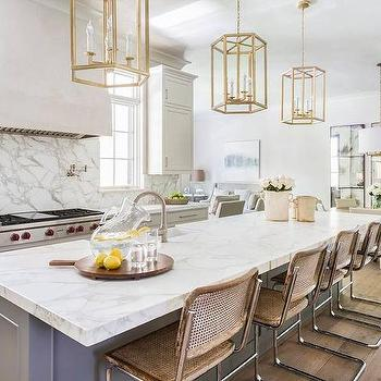 Incroyable Gray Kitchen Island With Vintage Bar Stools