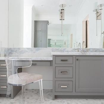Merveilleux Gray Built In Makeup Vanity With Lucite Klismos Chair
