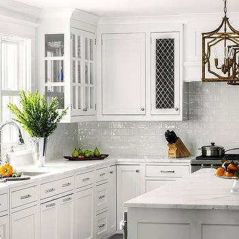 White Glazed Brick Kitchen Backsplash Tiles Transitional