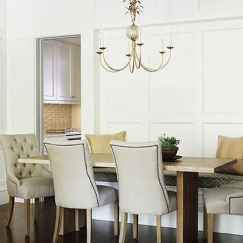 beige tufted dining room chairs design ideas