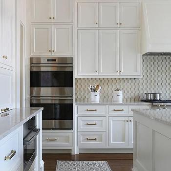 Small Kitchen Appliances Garage With Tiled Backsplash