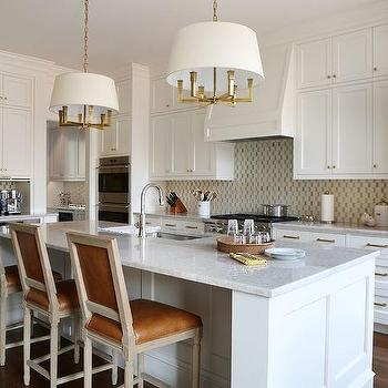 White Kitchen Island With Caramel Leather French Counter Stools