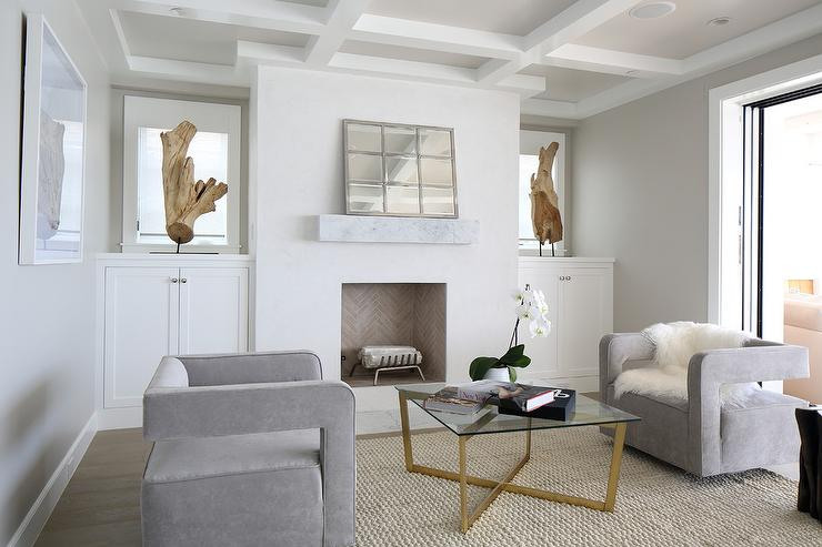 stucco fireplaces. Master Bedroom Sitting Area with White Stucco Fireplace  Cottage