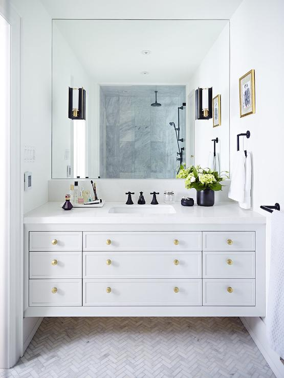 Bathroom Knobs white bathroom vanity with gold hexagon knobs - transitional