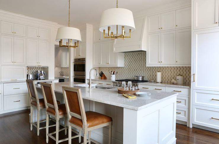 White Kitchen Island With Caramel Leather French Counter