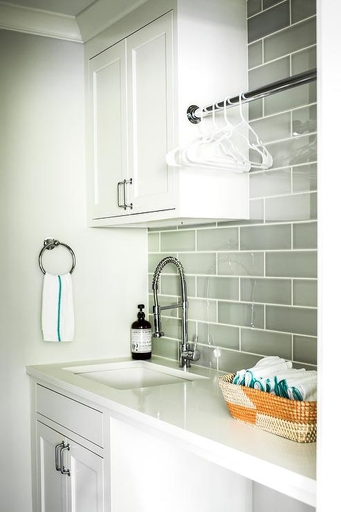 White And Gray Laundry Room Features An Square Sink Paired With A Polished  Nickel Pull Out Faucet Positioned In A White Quartz Countertop Above And  Below ...