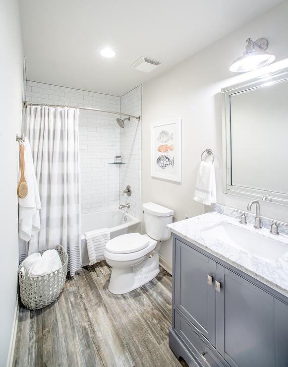 Transitional bathroom benjamin moore classic gray for Classic small bathroom ideas