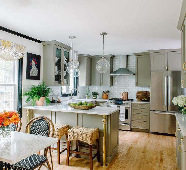 Gray Kitchen Peninsula With Brass Legs Transitional
