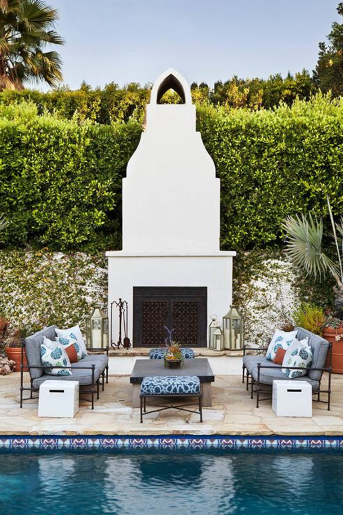 Mediterranean Backyard With White Stucco Moorish Style Outdoor