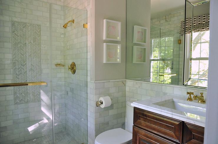 Half Tiled Marble Bathroom Walls - Transitional - Bathroom