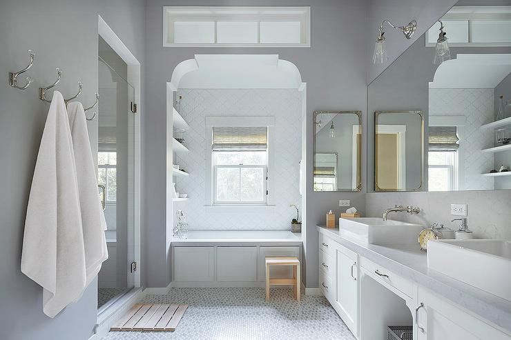 Bathtub alcove with white arabesque tiles transitional for Benjamin moore smoke embers