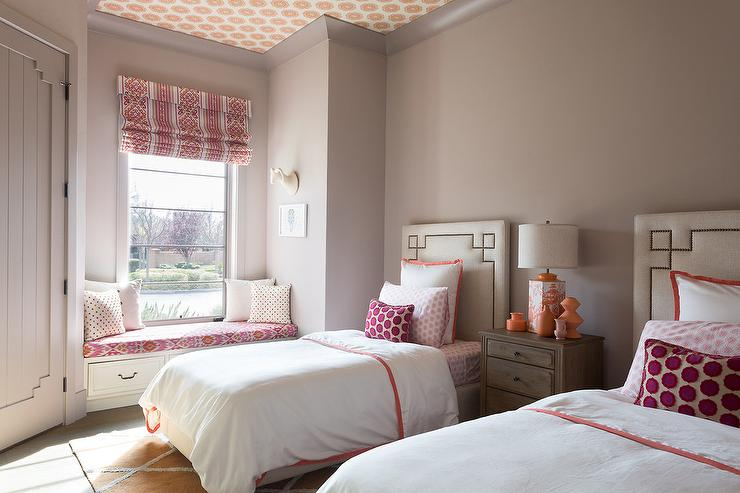 gray girl bedroom with pink and orange accents view full size