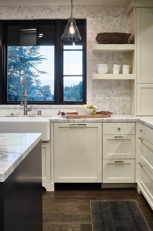Ivory Shaker Kitchen Cabinets With White Marble Grid Tile Backsplash Transitional Kitchen