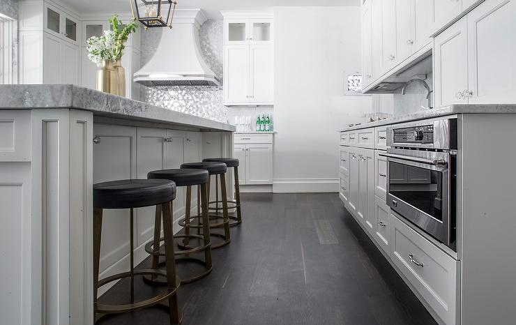 White Kitchen with Dark Stained Matte Oak Wood Floors Transitional