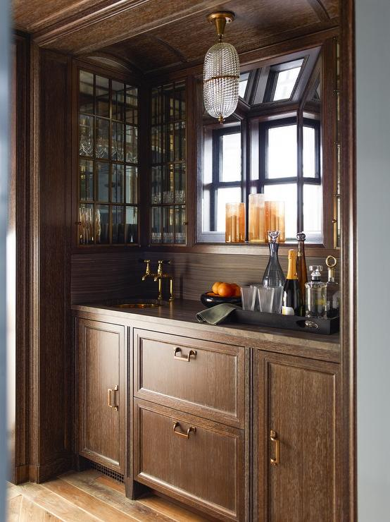 Wet bar with shelves on antique mirror backsplash transitional living room - Wet bar cabinets ...