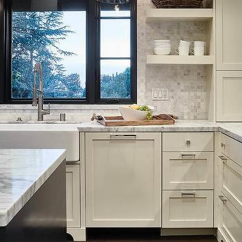 ivory shaker kitchen cabinets with white marble grid tile backsplash