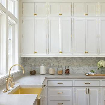 Elegant Brass Apron Sink With Brass Gooseneck Faucet
