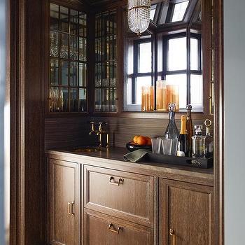 Light Brown Cerused Oak Wet Bar Cabinets