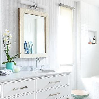 White bathroom with sea foam green accents transitional for Sea green bathroom accessories