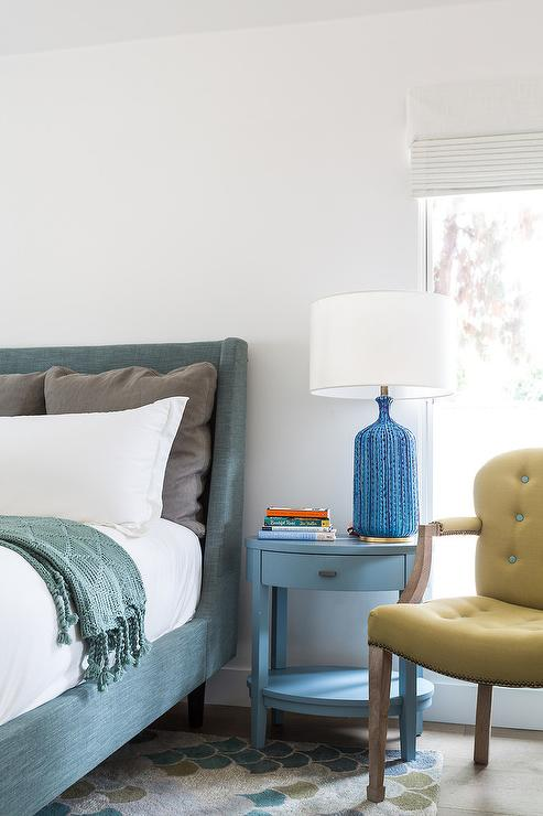Peacock Blue Linen Bed With Oval Blue Nightstand Transitional