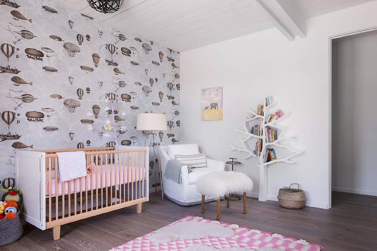 Pink And Gray Girl Nursery With Wallpaper On Accent Wall