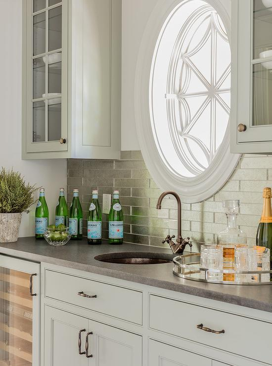Light Gray Wet Bar Cabinets With Stainless Steel