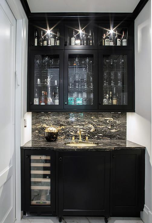 Black wet bar cabinets with black and white marble transitional kitchen - Wet bar cabinets ...