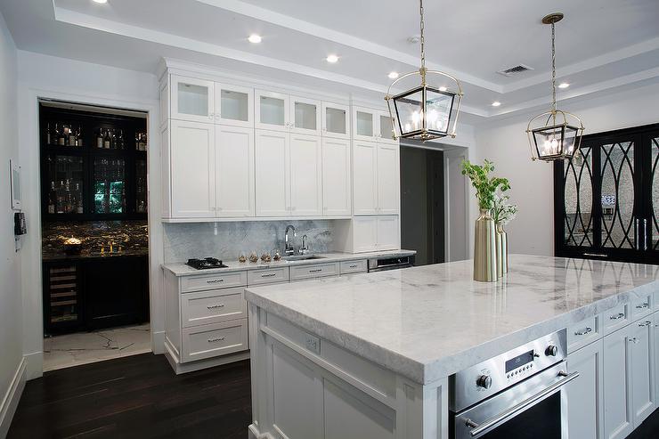 White Kitchen With Grey And White Quartzite Waterfall Edge