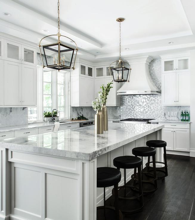 White Kitchen With Silver Metallic Mosaic Tiles Transitional Kitchen