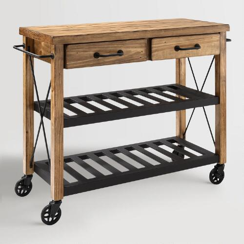 mesmerizing world market kitchen cart | World Market Wood and Metal Industrial Kitchen Cart Look ...