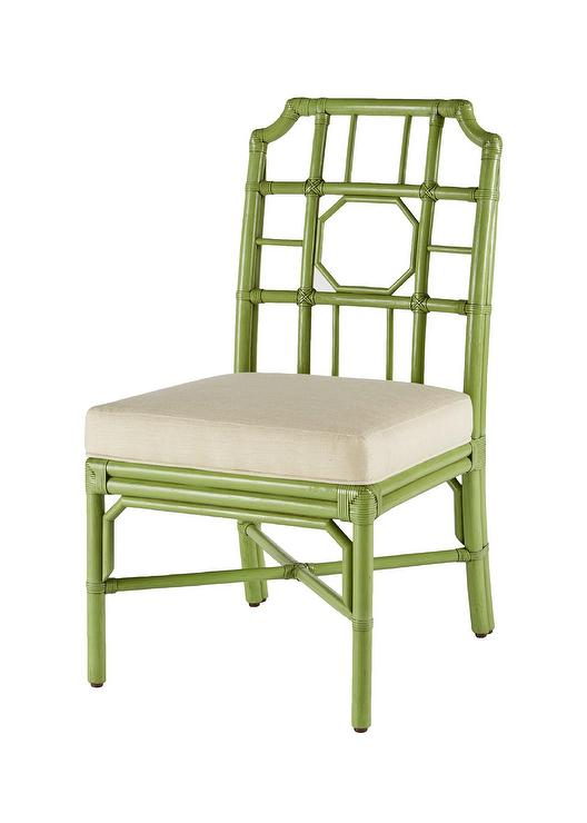 Lime Green Chinoiserie Rattan Side Chair