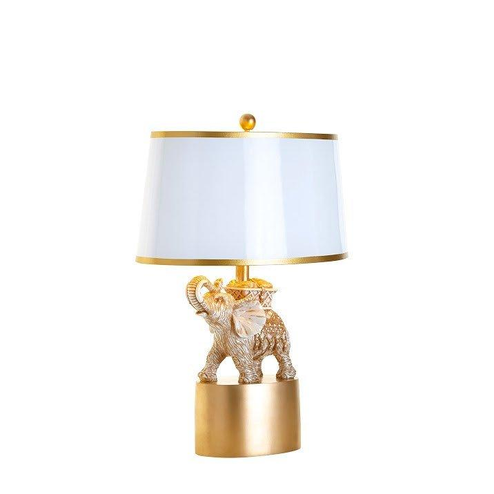 Gold And White Elephant Table Lamp