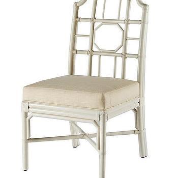 White chinoiserie rattan side chair