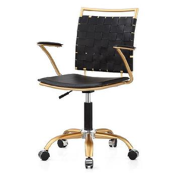White Vegan Leather Gold Office Chair