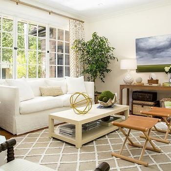 White And Beige Living Room With Green Accents