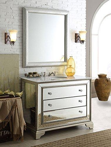 42 Inch Carrara Marble Top Mirrored Asha Bathroom Sink Vanity And Mirror