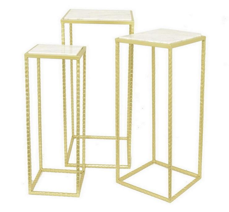 Set Gold Framed White Marble End Tables