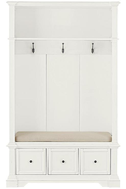 White Three Drawer Storage Bench Locker