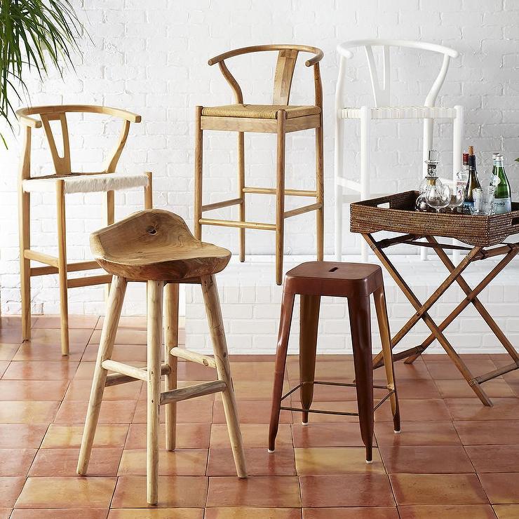 Danish Counter Seat: Natural Bowen Wishbone Barstool
