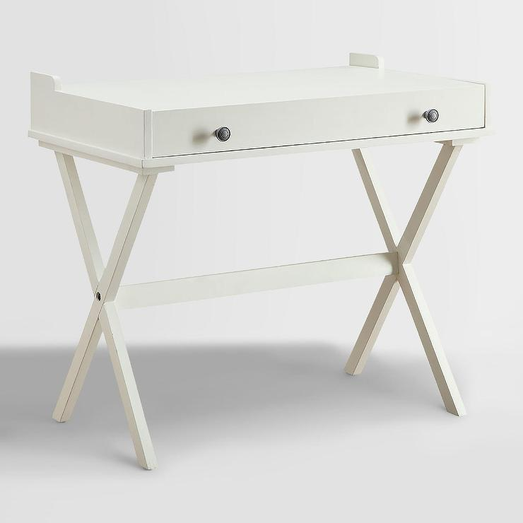 - Antique White Wooden Flip Top Desk
