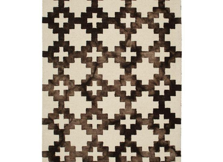 Looping Staircase Pattern Brown And White Rug