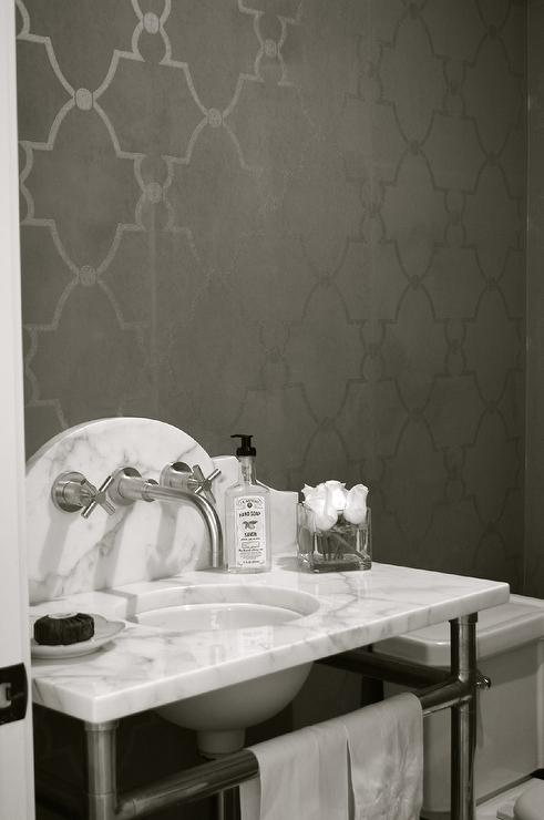 Gray Moroccan Trellis Wallpaper With Marble Washstand