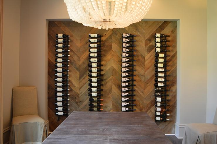 Dining Room With Wood Herringbone Wine Rack Transitional