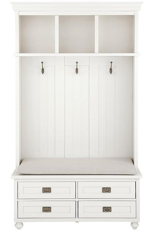 Mudroom Storage Drawers : White four drawer storage bench locker