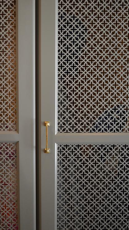 Gray quatrefoil lattice cabinet doors transitional for What kind of paint to use on kitchen cabinets for metal initial wall art