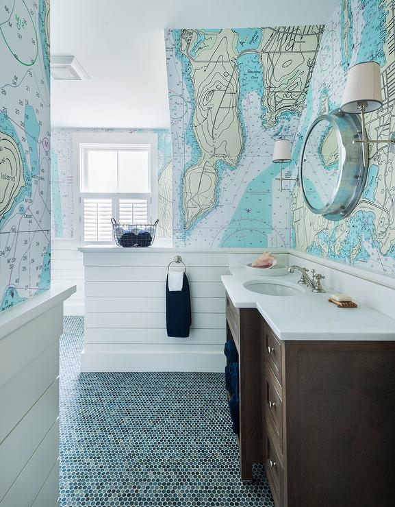 Blue Boys Bathroom With World Map Wallpaper