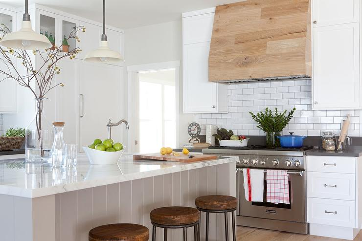 Reclaimed Barn Wood Kitchen Island With Gray Quartz