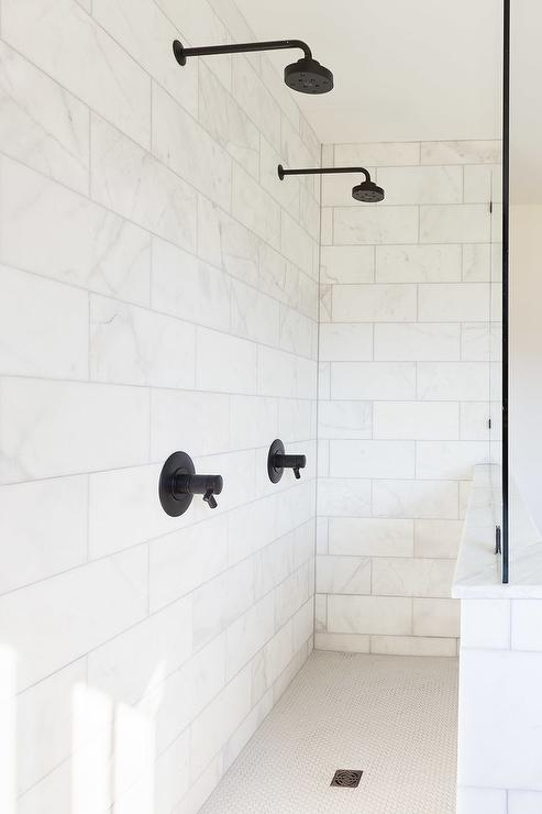 White Marble Shower Tiles With Oil Rubbed Bronze Shower