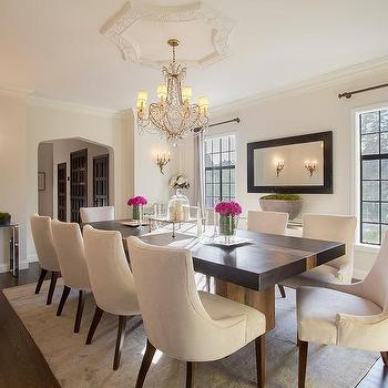Glamorous Dining Room Cream Upholstered Chairs Living Wallpaper Ideas